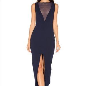 Nookie sincity floor length blue dress small